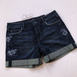 5 inch embroidered denim shorts